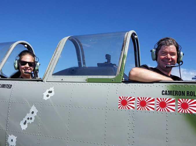 Kianni Hughes, 13, of Tweed Heads on her first flight with pilot Rodney Ginn.