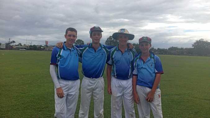Sean Bryson, Jaiden Fidge, William Ole and Tom Philp in state cricket at Bundaberg.