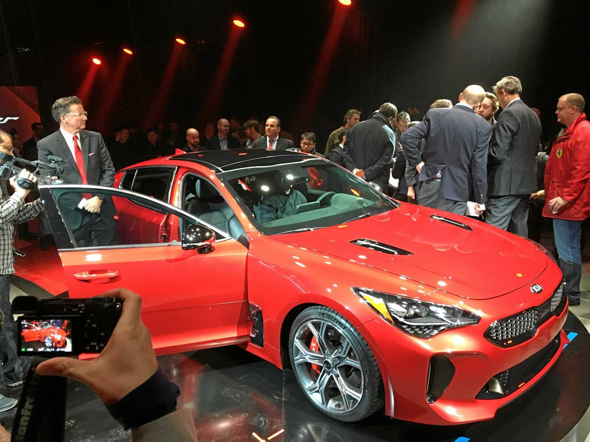 The 2018 Kia Stinger GT is unveiled to the world ahead of the Detroit motor show.