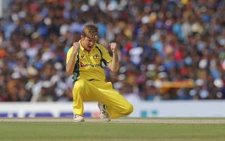 Australia's Adam Zampa celebrates the dismissal of Sri Lanka's Angelo Mathews during their third one day international cricket match in Dambulla