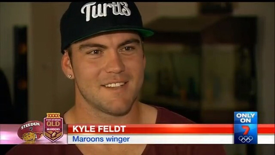 NRL stars have been spotteqd wearing Jayden's clothing label. Photo: Channel 7.