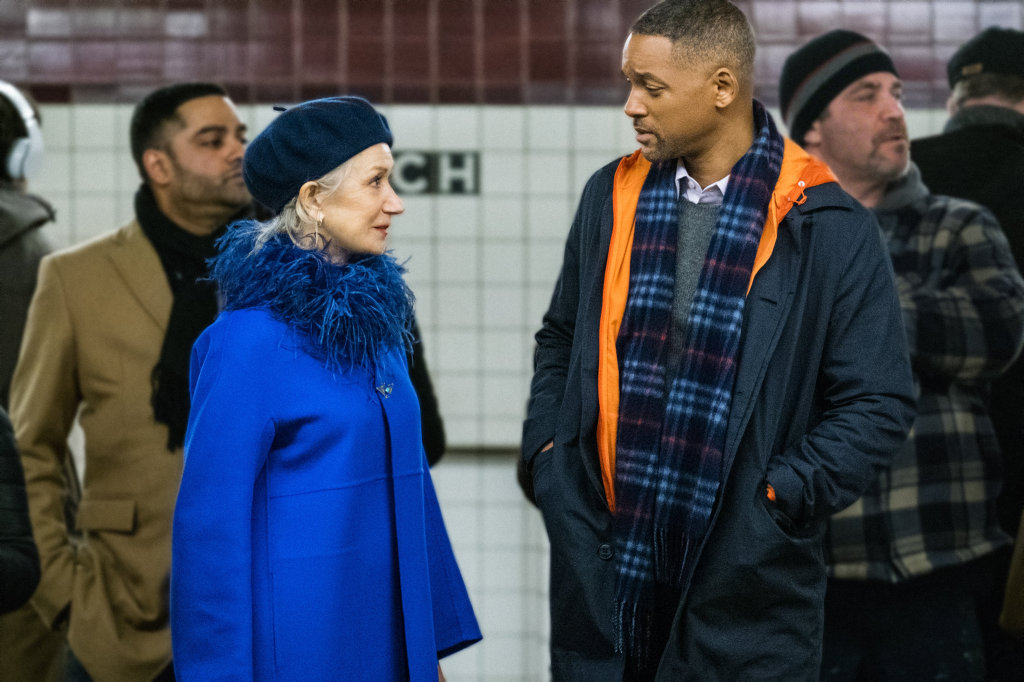 Helen Mirren and Will Smith in a scene from the movie Collateral Beauty.