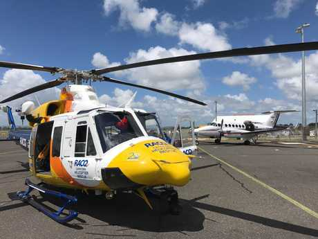TRANSFER: The RACQ Capricorn Helicopter Rescue Service transfers the patient to the Royal Flying Doctor Service for passage to Brisbane.