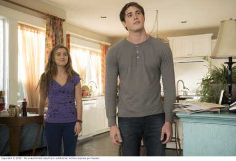 Haley Lu Richardson and Blake Jenner in a scene from the movie The Edge of Seventeen.
