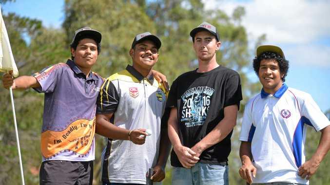 Caleb Torrens, Solomon Torrens, Daniel Stubbings and Jeremiah Torrens during a round of social golf in Warwick.