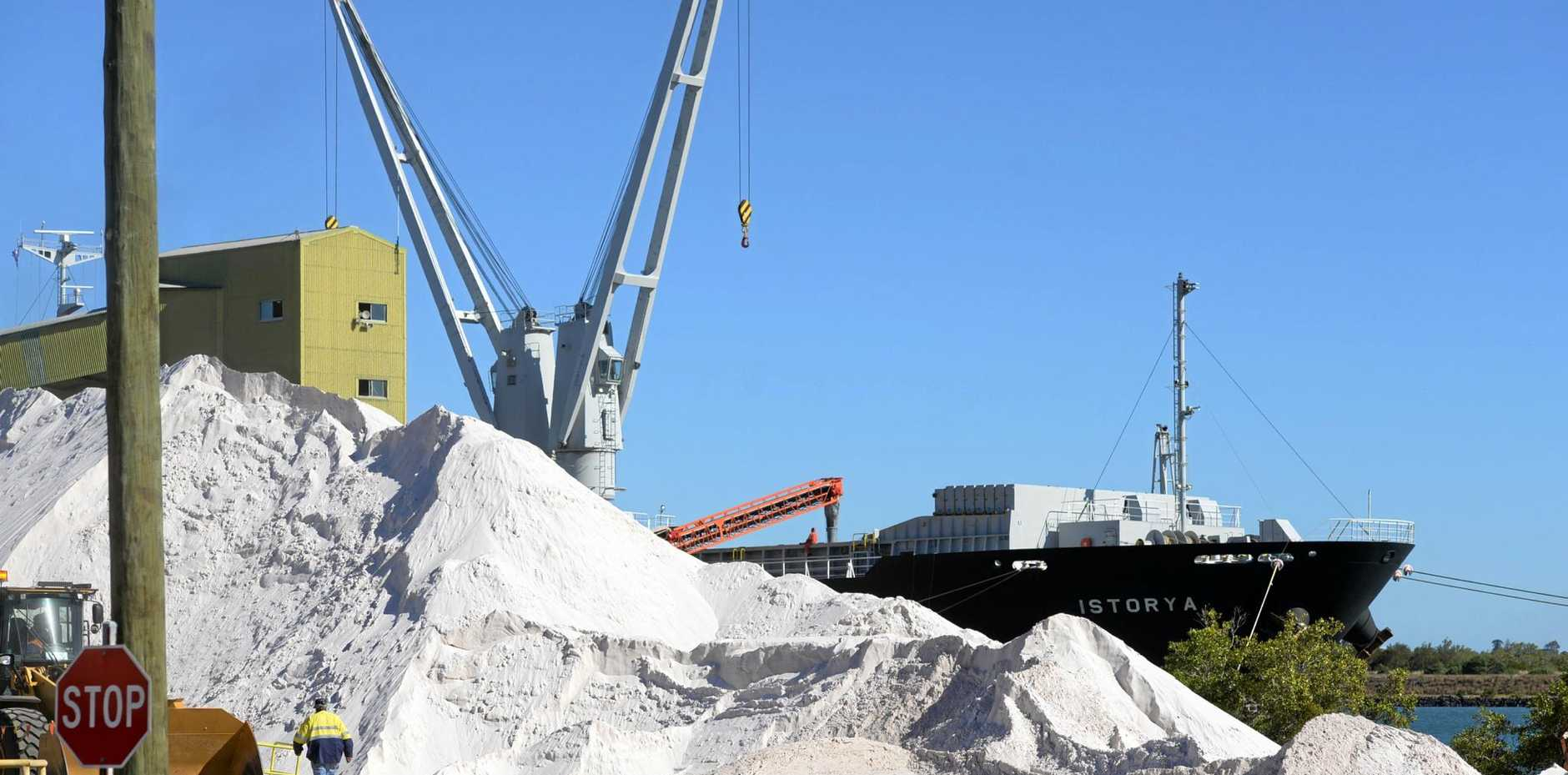 EXPORT QUALITY: Silica for loading at the Bundaberg Port. Photo: Mike Knott / NewsMail