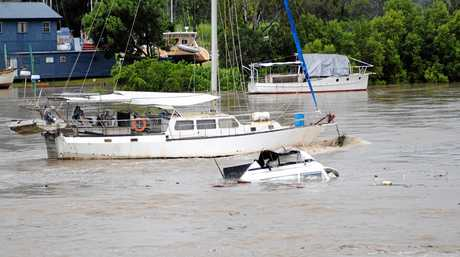 John Perrins boat washing down the Mary River. Photo: Nat Bromhead / Fraser Coast Chronicle