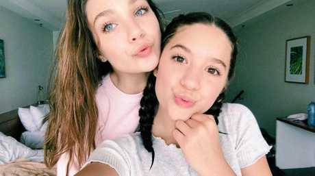 Maddie and Mackenzie Ziegler in their hotel room at Hamilton Island, Whitsundays.