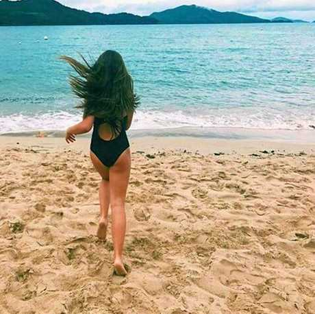 Mackenzie Ziegler enjoys the sunshine at Hamilton Island.