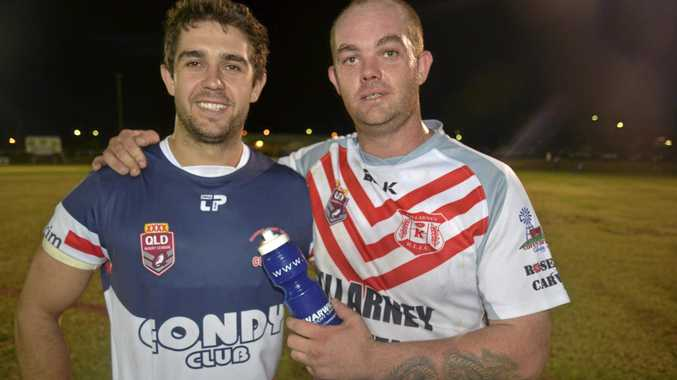 BOTH COWBOYS NOW: The Galloway brothers Dylan (Warwick) and Dion (Killarney) on opposite sides at Father Ranger Oval last season.