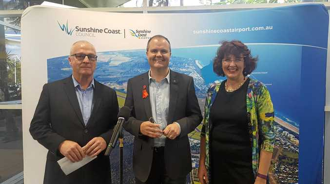 MAYOR Mark Jamieson and Fairfax MP Ted O'Brien on more common ground spruiking the Sunshine Coast Airport expansion with Maroochydore MP Fiona Simpson.