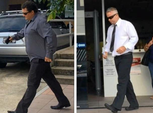 Troy Michael Adsett (left), 35 and Geoffrey John Jeffcoat, 44, leave Maroochydore Court House after a December 2016 mention of their assault charges.