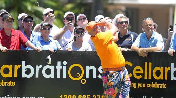Steven Bowditch held a charity golf day at Twin Waters golf club. Big John Daly takes his big hit. Photo:Barry Leddicoat/Sunshine Coast Daily