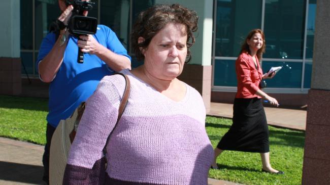 Violet Flora Evans leaves court.