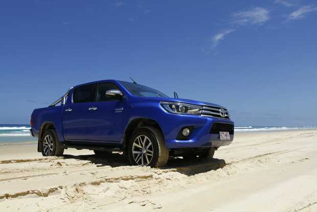 2016 Toyota HiLux Double Cab 4x4 SR5 on Teewah Beach, Noosa North Shore.