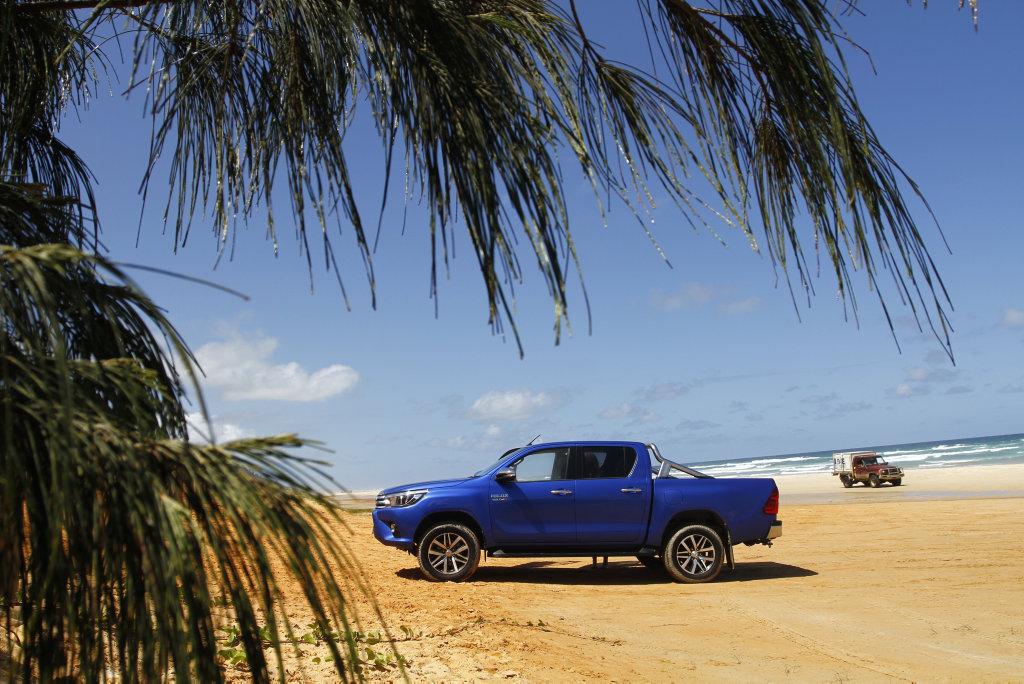 2016 Toyota HiLux Double Cab 4x4 SR5 on Teewah Beach, Noosa North Shore.