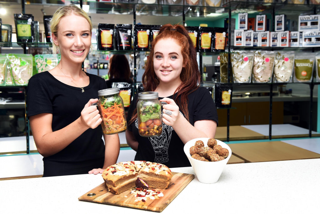 Hervey Bay - Cafe Mind Body and Soul offers organic vegetarian, vegan, gluten free meals. Barista Brittney Parker and Amy Bills.
