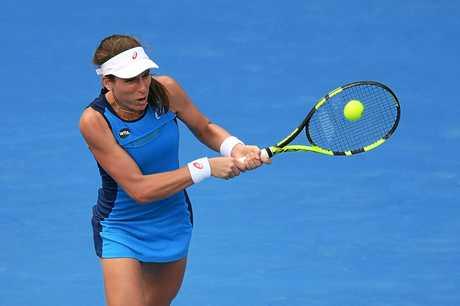 Johanna Konta of Great Britain in action against Daria Gavrilova of Australia