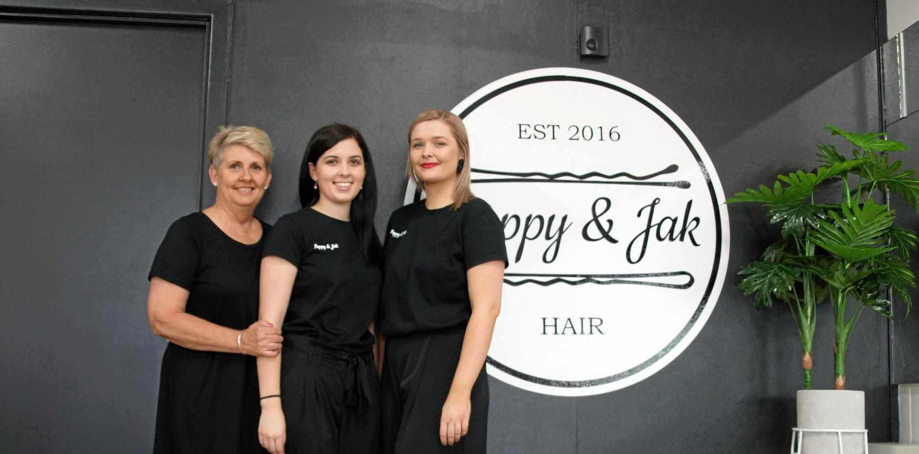FAMILY TEAM: Tracey Kirkpatrick, Shannon Kirkpatrick and Meagan O'Shea on the opening day of Poppy & Jak Hair in Walkerston.