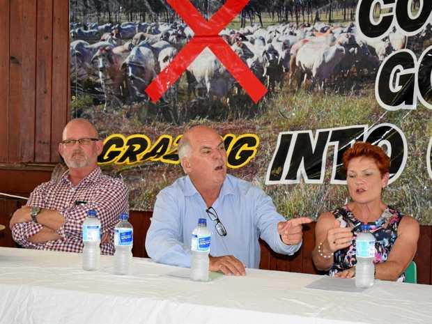 POLLIES: Rockhampton MP Bill Byrne, Livingstone Mayor Bill Ludwig and Queensland Senator Pauline Hanson.