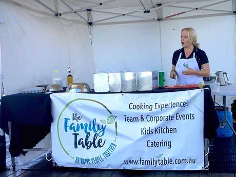 Trudie Bishop of The Family Table entertains with cooking demonstrations monthly at the Greater Whitsunday Farmers' Market.