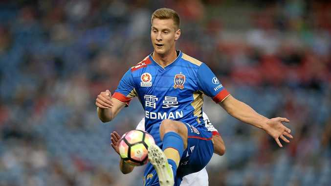 NEWCASTLE, AUSTRALIA - OCTOBER 09:  Lachlan Jackson of the Jets in action during the round one A-League match between the Newcastle Jets and Adelaide United at Hunter Stadium on October 9, 2016 in Newcastle, Australia.  (Photo by Tony Feder/Getty Images)