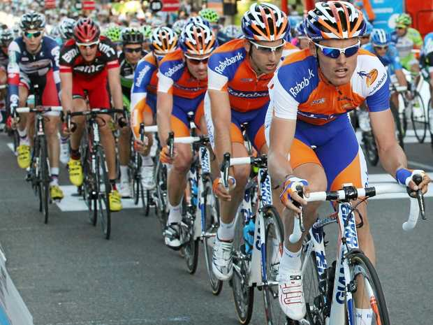 Luis Leon Sanchez of Spain leads the peloton in the 2012 Tour Down Under in Adelaide.