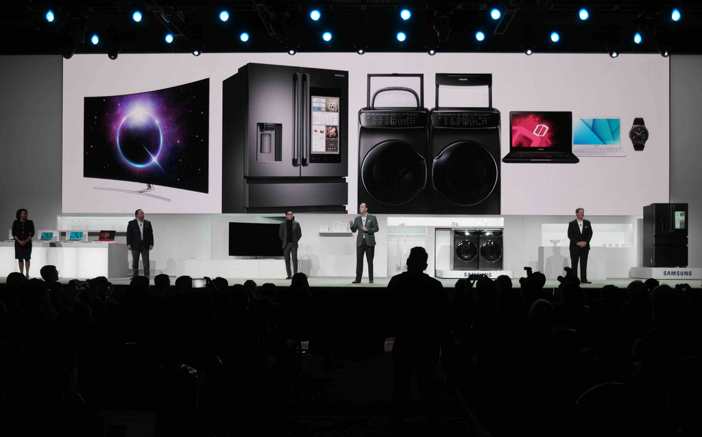 Samsung's range on show at its launch at CES 2017 in Las Vegas.