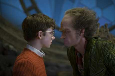 Louis Hynes and Neil Patrick Harris in a scene from A Series Of Unfortunate Events.