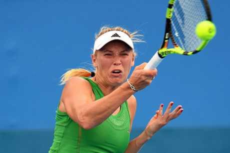 Caroline Wozniacki of Denmark in action against Yulia Putintseva of Kazikstan at the Sydney  International