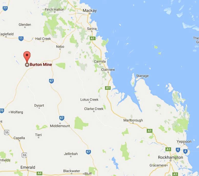 Burton Mine, about 290km north west of Rockhampton.