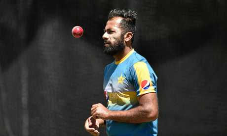 Pakistan bowler Wahab Riaz  in the nets