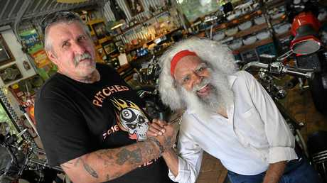 CAMERAS ROLLING: Director Colin Dickson and actor Jack Charles take time out while filming the movie Patched.