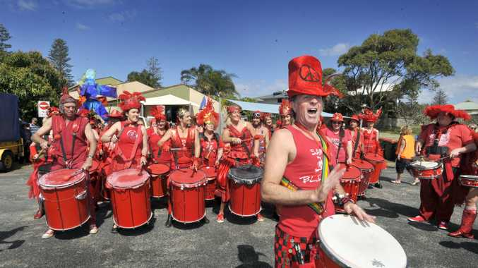 THE DRUMS ARE SILENT: Paul Barrett heading the Samba Blisstas at a festival in Yamba in 2010.