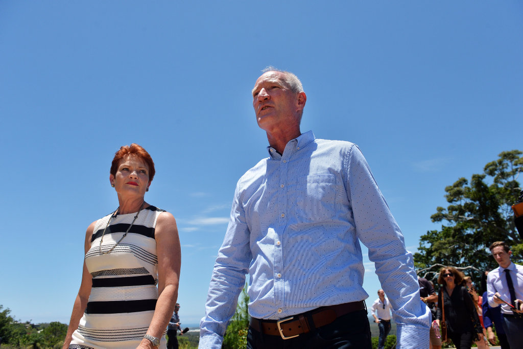 One Nation leader Pauline Hanson with newest recruit and Buderim MP Steve Dickson on Friday January 13, as the pair announce he will be quitting the LNP.
