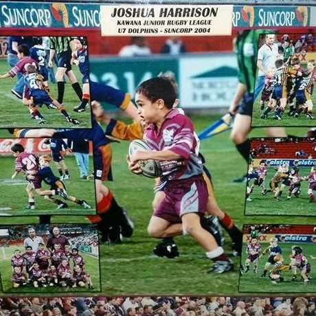 Josh Harrison (now 19) as a child, playing in the Kawana Dolphins, his team in 2004.