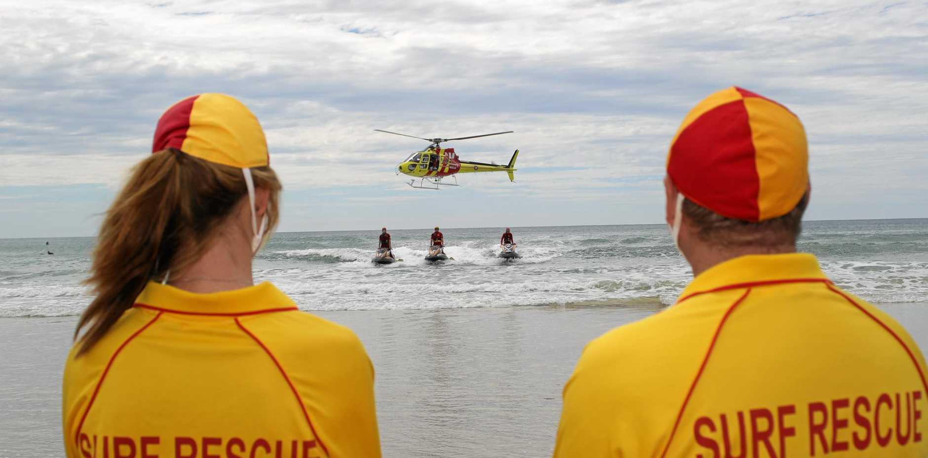 Maroochy Surf Club lifesavers keep an eye on the beach.