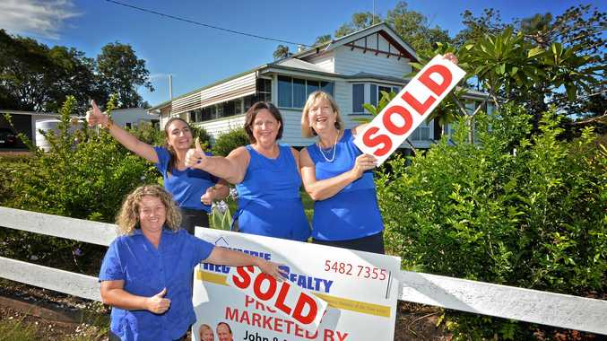 SALE CONFIRMED: The Gympie Regional   Realty team which sold the Ramsey property are (back) Mel Gastigar, Dorothy Palmer and Margaret Cochrane, with (front) home seller Terri-Jayne Ramsey.
