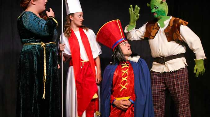 POPULAR MUSICAL: Shrek (River Fullagar) interrupts the wedding, shocking Fiona (Hillary Goodsell), the Bishop (Grace Pateman) and a furious Farquaad (Lachlan McGeary) in the Ballina Players' latest production.