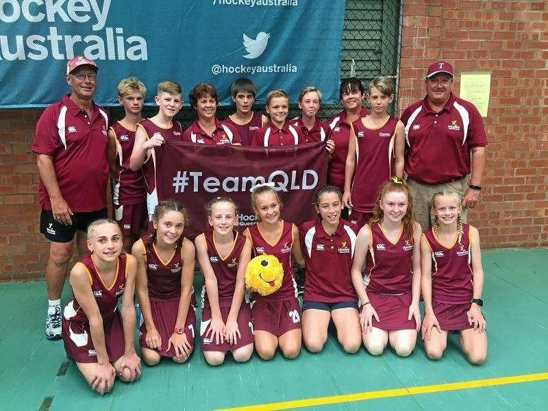 QLD DUTY: Maryborough's contingent at the under-13 Australian Indoor Hockey Championships.