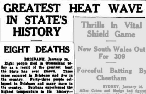 An article from the Morning Bulletin dated Saturday, January 27, 1940. Eight people died in one day.