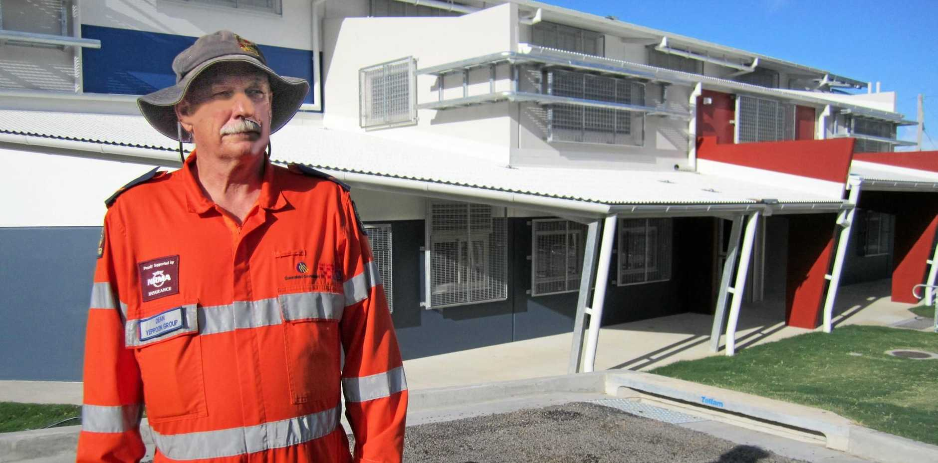 Yeppoon SES volunteer Dean Gibson at the cyclone shelter at Yeppoon State High School.