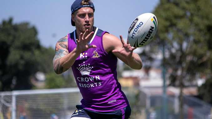 MELBOURNE: Cameron Munster trains in Storm colours at pre-season training.