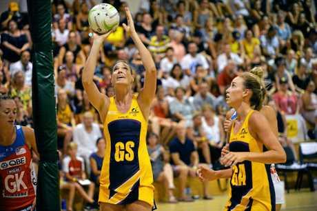 NETBALL: Sunshine Coast Lighting v Swifts. Lightning GS, Caitlin Bassett aims for goal.