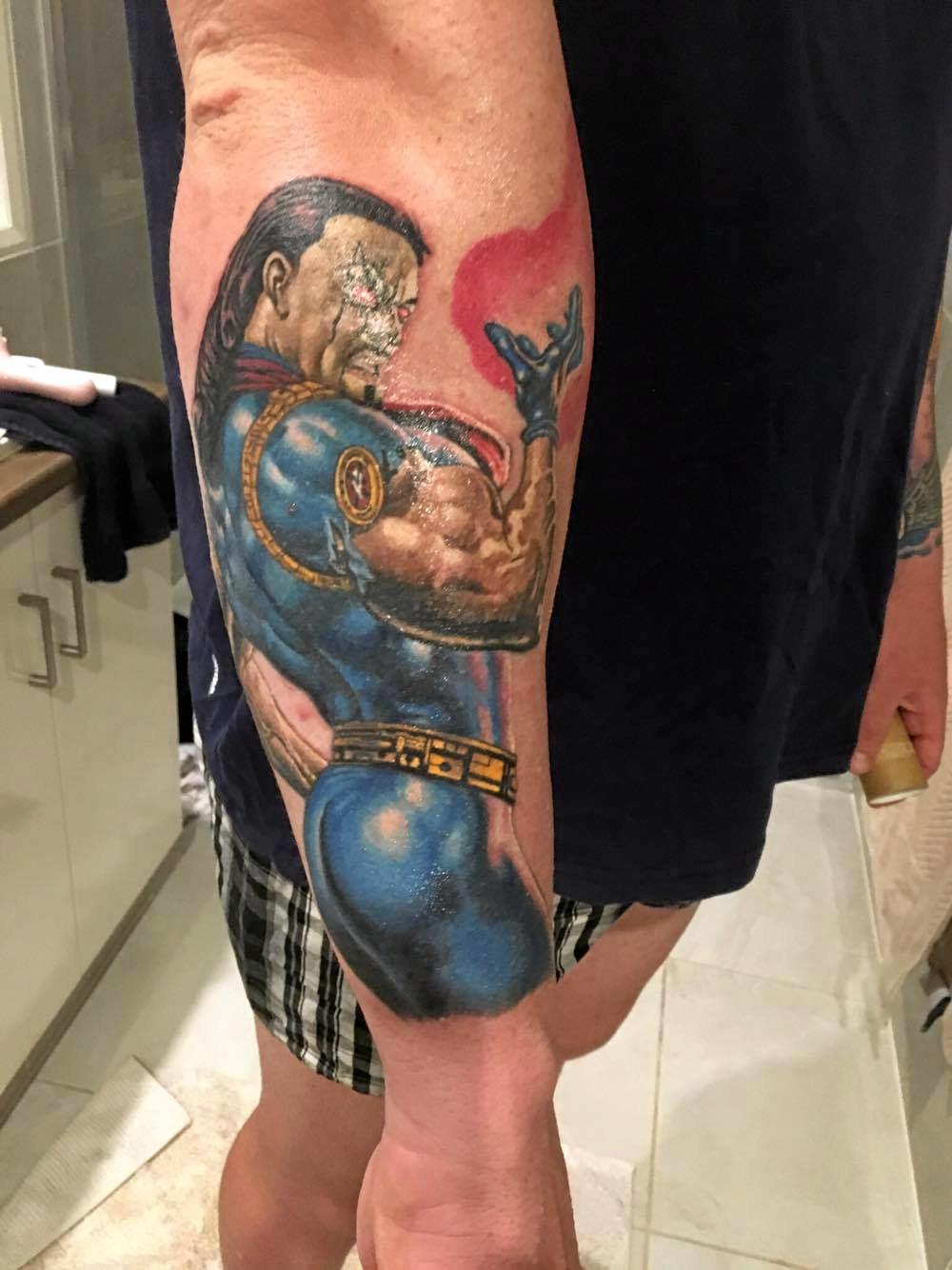 Marvel's Bishop is another of Andrew Robertson's tattoos.