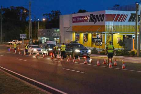 Police stop motorists for random breath tests on Caloundra Rd at Caloundra.