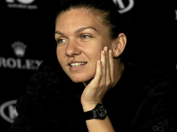 Romania's Simona Halep at a press conference ahead of the Australian Open in Melbourne.