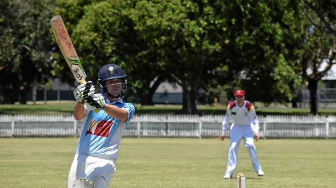 Ballina Bears top order batsman Justin Moore watching one go to the boundary against Alstonville in FNC LJ Hooker League cricket