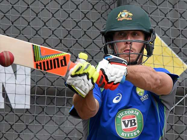 Mitchell Marsh bats in the nets during an Australian team training session.