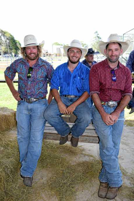 Lachlan O'Niell, Bredy Betlamini and Jordan O'Niell at the Alstonville Rodeo on Saturday, January 14, 2017.